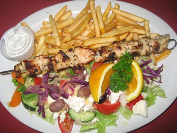 CHICKEN SOUVLAKI DINNER at ALBATROS RESTAURANT